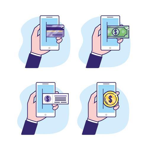 definir smartphone com transação digital e de segurança vetor