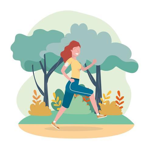 mulher prática executando atividade de exercício vetor