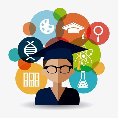 Graduação do estudante Gesign vetor