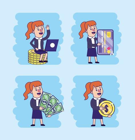 conjunto de mulher com laptop eletrônico e cartão de crédito vetor