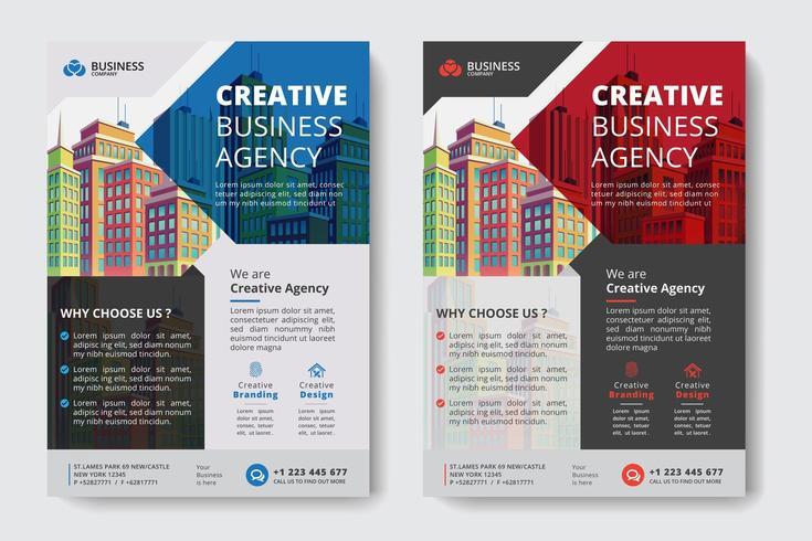Modelo de negócios corporativos vermelho e azul com recortes geométricos e edifícios vetor