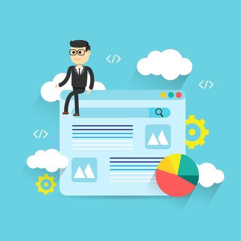 Design de análise web ilustração plana com homem sentado na página da web vetor