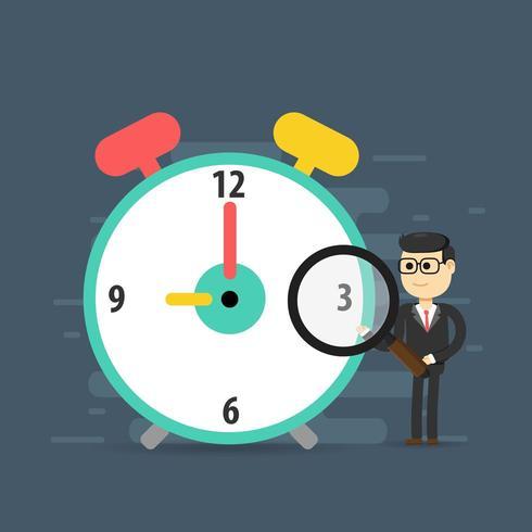 Planejamento de gerenciamento de tempo com homem segurando a lupa no relógio vetor
