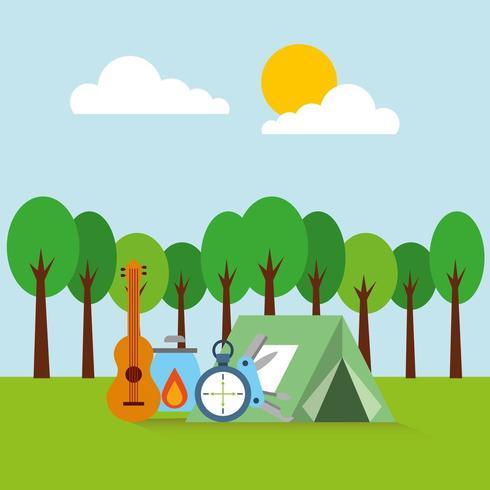 acampamento ao ar livre da floresta vetor