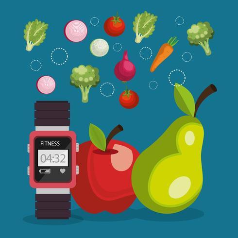 Smartwatch com ícones de estilo de vida saudável vetor