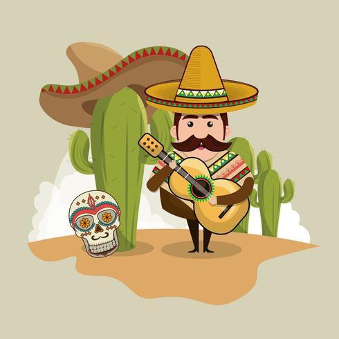 Homem mexicano com ícones culturais vetor