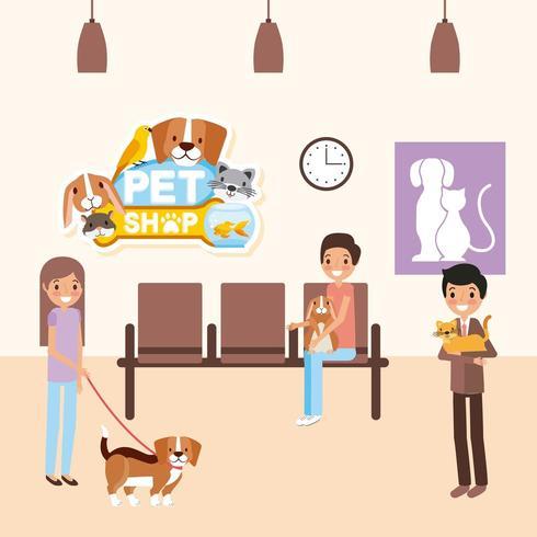 Consultório veterinário com animais de estimação vetor