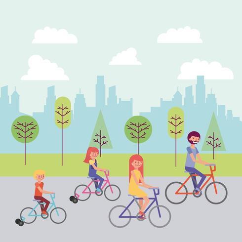 Família de bicicleta no parque vetor