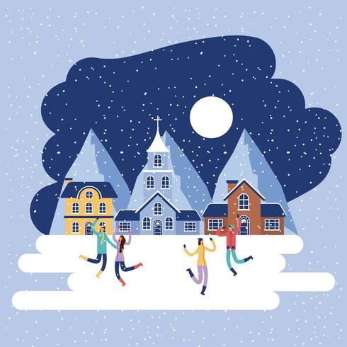 pessoas de férias de inverno igreja casa vetor