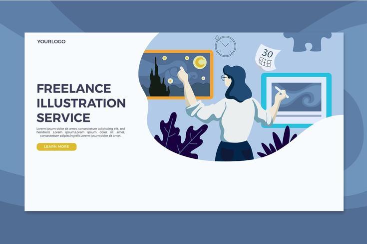 Modelo de página de destino do serviço de ilustração freelance vetor