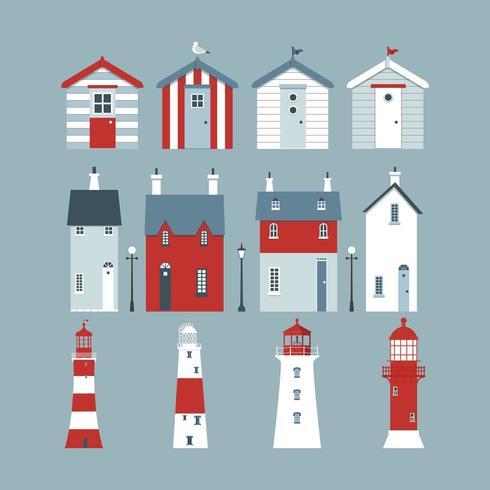 Mar com cabanas de praia, faróis, bóias salva-vidas, luzes da rua e pequenas lojas. vetor