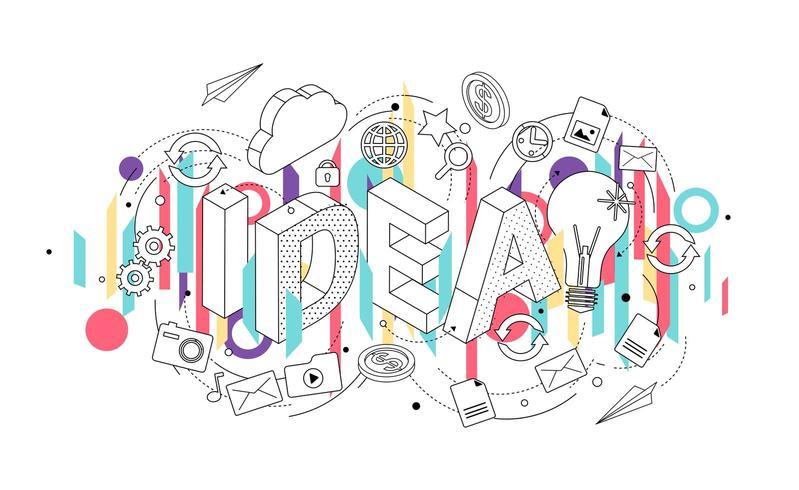 Conceito isométrico com letras de linha fina, dispositivos e ícones de escritório vetor