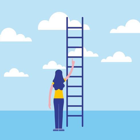 mulher de negócios, apontando para cima a escada vetor
