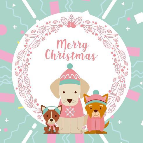 cartão de feliz natal cão vetor