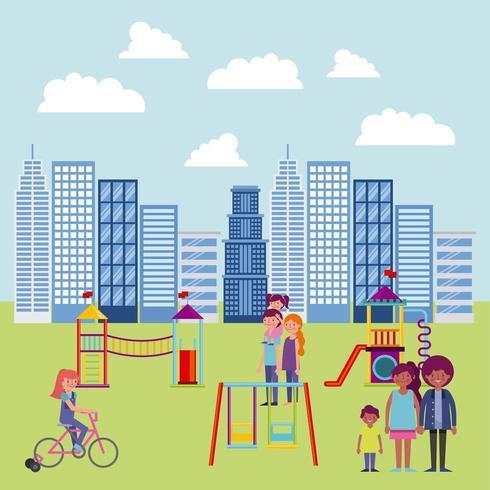 pessoas parque e cidade vetor