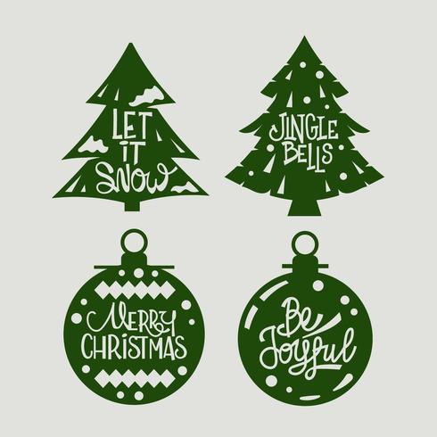 Citações de Natal em enfeites vetor
