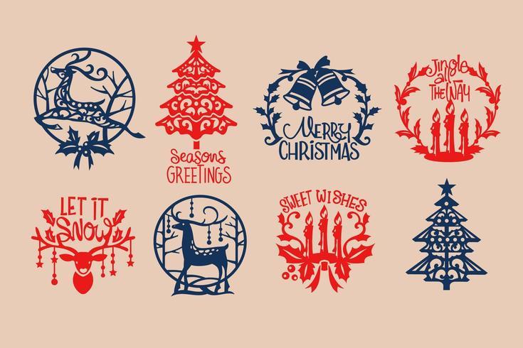 Conjunto de adesivos de Natal vetor