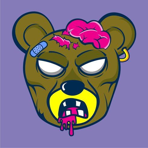 zumbi urso animal dos desenhos animados vetor