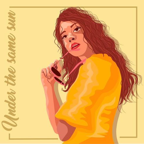 Mulher hispânica, vestido amarelo, segurando, dela, óculos sol vetor