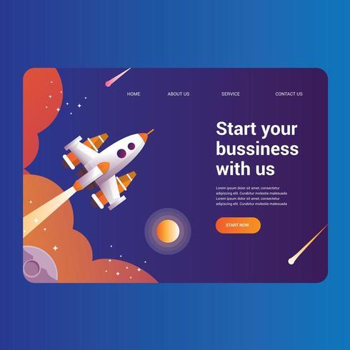 Página de destino da Rocket Science para negócios vetor
