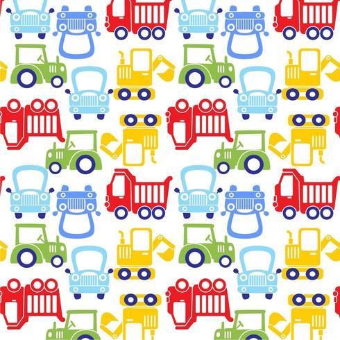 padrão de carro engraçado dos desenhos animados coloridos vetor