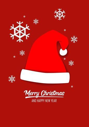 Feliz Natal cartão com chapéu de Papai Noel vetor