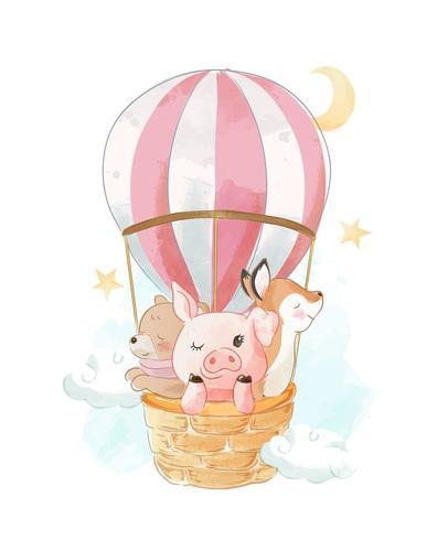 Balão de ar quente com animais na cesta vetor