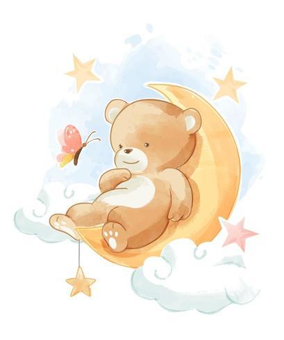 urso dormindo na lua vetor
