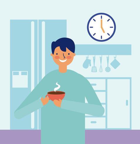 atividade diária homem feliz bebendo café na cozinha vetor