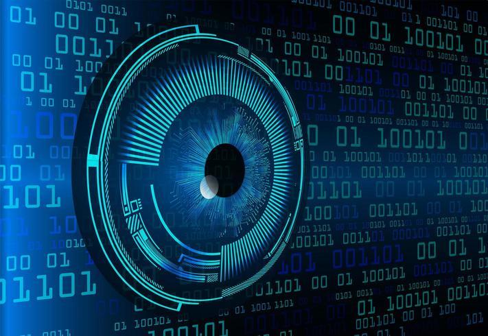 Conceito de tecnologia futura de circuito cibernético de olhos azuis vetor
