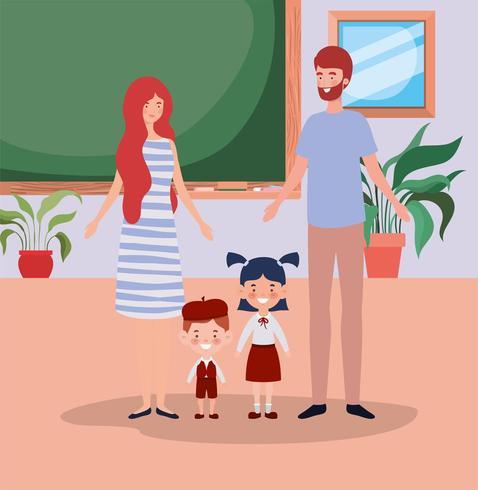 casal de professores com crianças alunos pequenos na sala de aula vetor