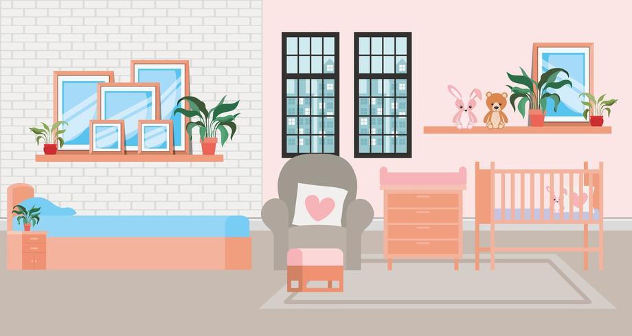 cena de quarto de cama de bebê lindo vetor