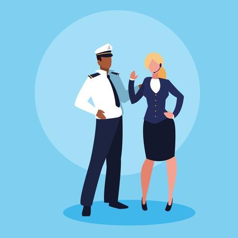 personagem de avatar marinheiro homem e mulher de negócios vetor