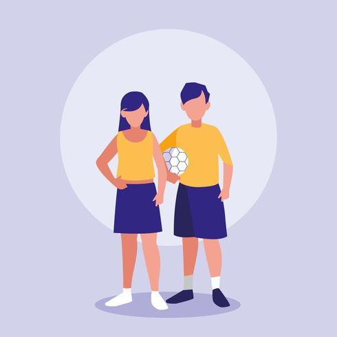 casal de adolescentes com balão de futebol vetor