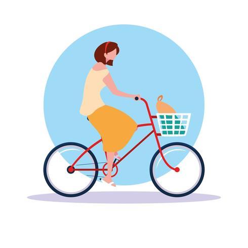 personagem de avatar de bicicleta de equitação jovem vetor