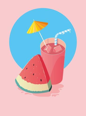 Bebida de melancia de verão vetor