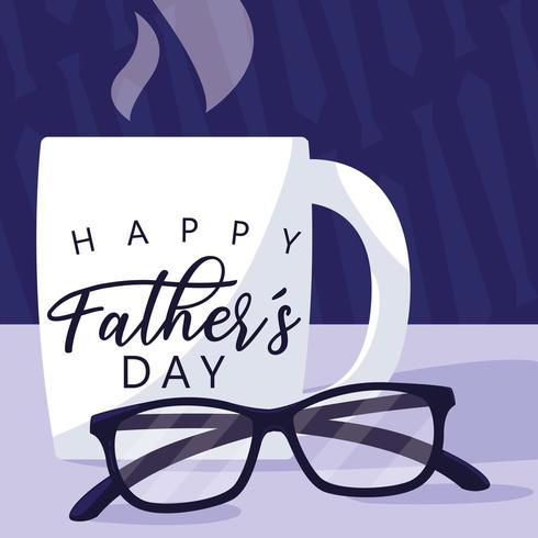 cartão de dia dos pais feliz com caneca e óculos vetor