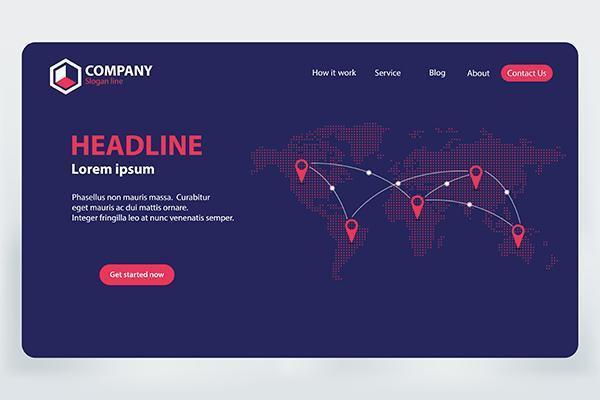 Rede de Comunicação Mundial da Landing Page vetor