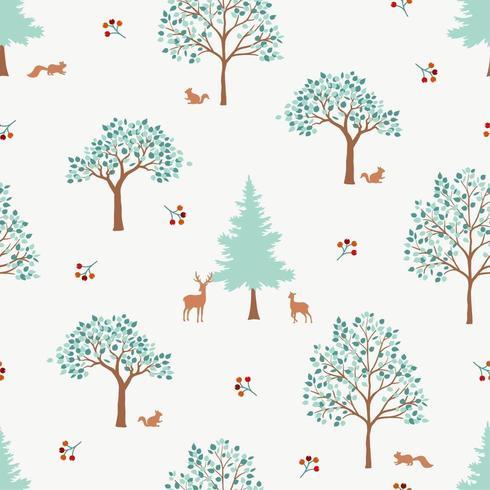 Padrão sem emenda de mão desenhada floresta fofa vetor