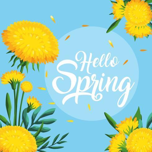Olá cartão de primavera com decoração de lindas flores vetor