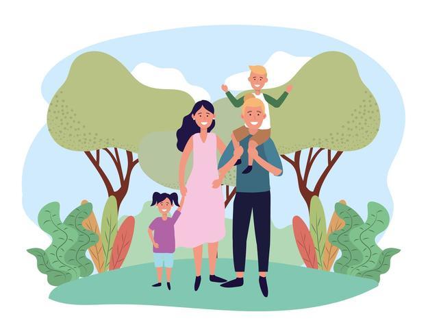 mulher bonita e homem com seu filho e filha vetor