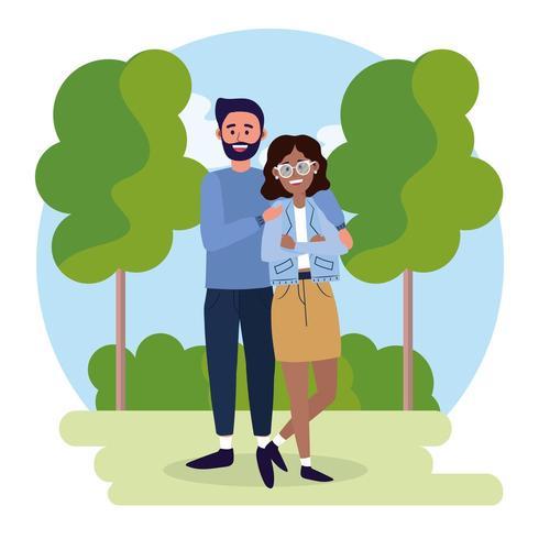 casal homem e mulher com roupas casuais vetor