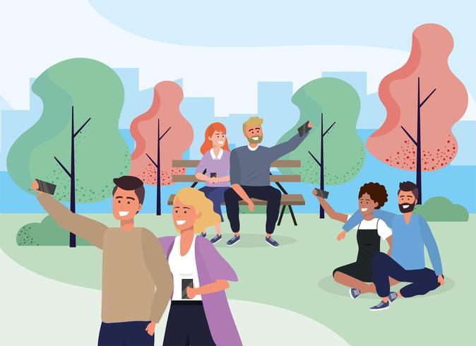 casal de pessoas sociais com smartphone no parque vetor