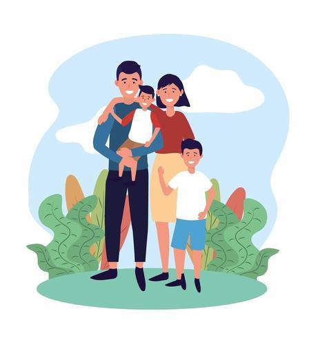 bonito homem e mulher com seu filho e plantas vetor