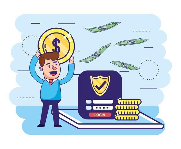 homem com senha digital de segurança moeda e escudo vetor