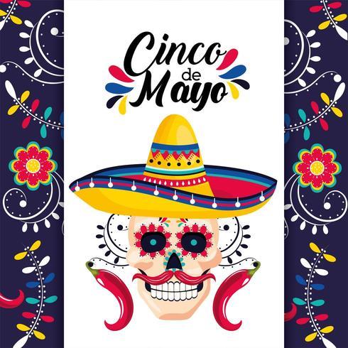 cartão mexicano com decoração de caveira e chapéu vetor