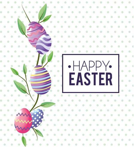 Feliz Páscoa emblema e ovos de Esther vetor