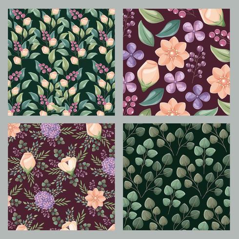 Conjunto de origens florais vetor