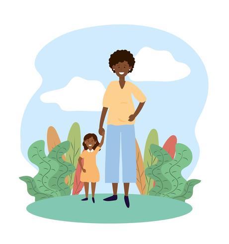 mãe de sorriso mulher com sua filha e plantas vetor