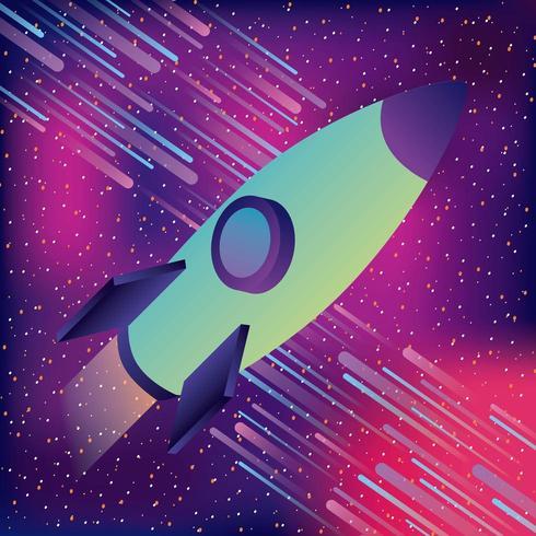 Design de realidade virtual estrelado de asteróides de foguetes espaciais vetor